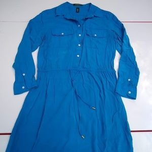 Brilliant Blue Shirt Dress Size 12P Ralph Lauren